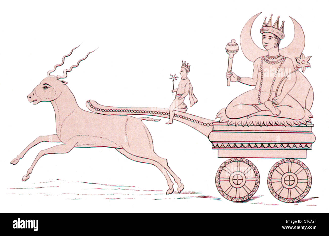 Soma rides a chariot drawn by an antelope. Soma is a very difficult deity for many outside of India to comprehend. - Stock Image