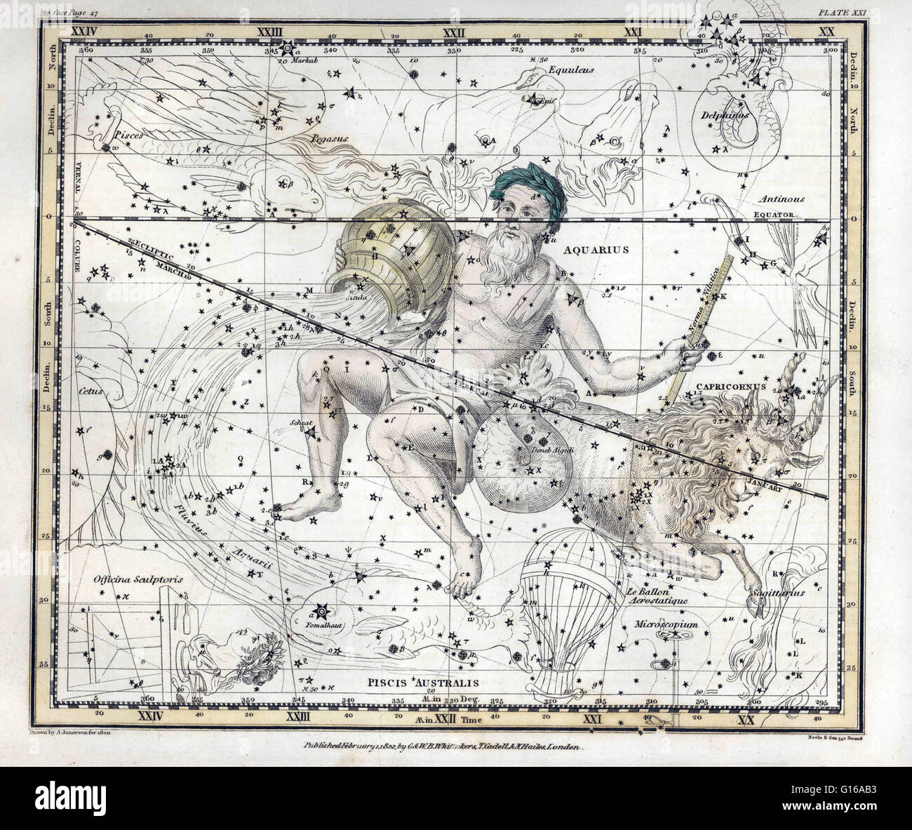 Aquarius is a constellation of the zodiac. Its name is Latin for, water-carrier or cup-carrier. Aquarius is the - Stock Image