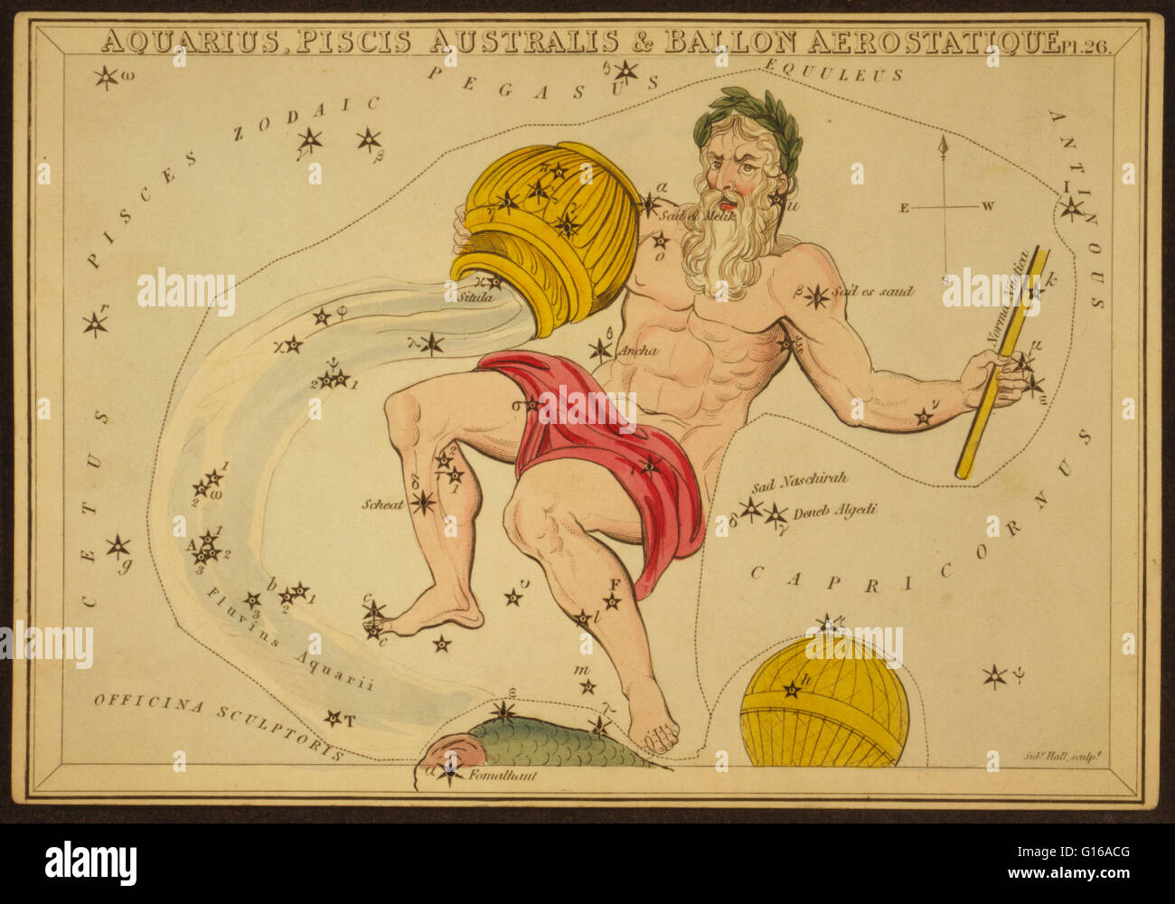 Astronomical chart showing a male figure holding an inverted bowl from which water flows, at his feet appears the - Stock Image