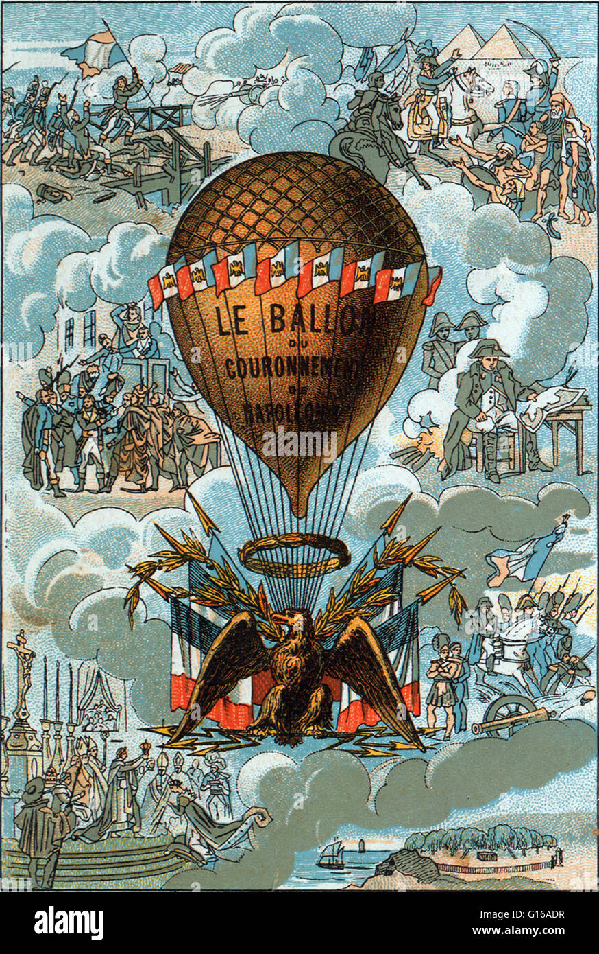 An unmanned balloon, ablaze with 3,000 lights forming an Imperial crown was launched from the front of Notre Dame - Stock Image