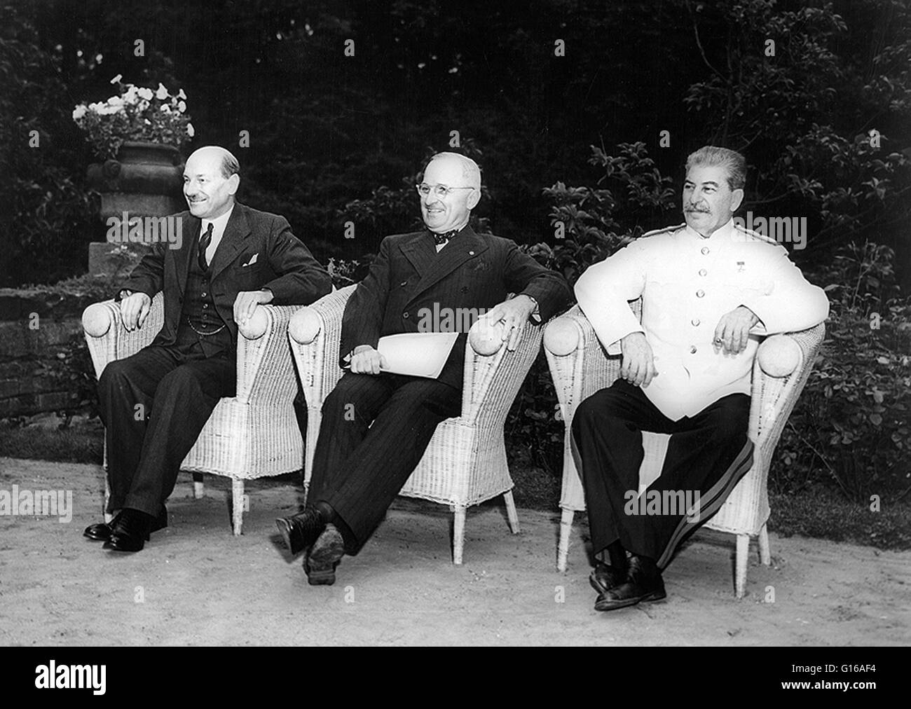 Potsdam Conference. Clement Attlee, Harry Truman, and Joseph Stalin, seated outdoors, August 1, 1945. The Potsdam - Stock Image