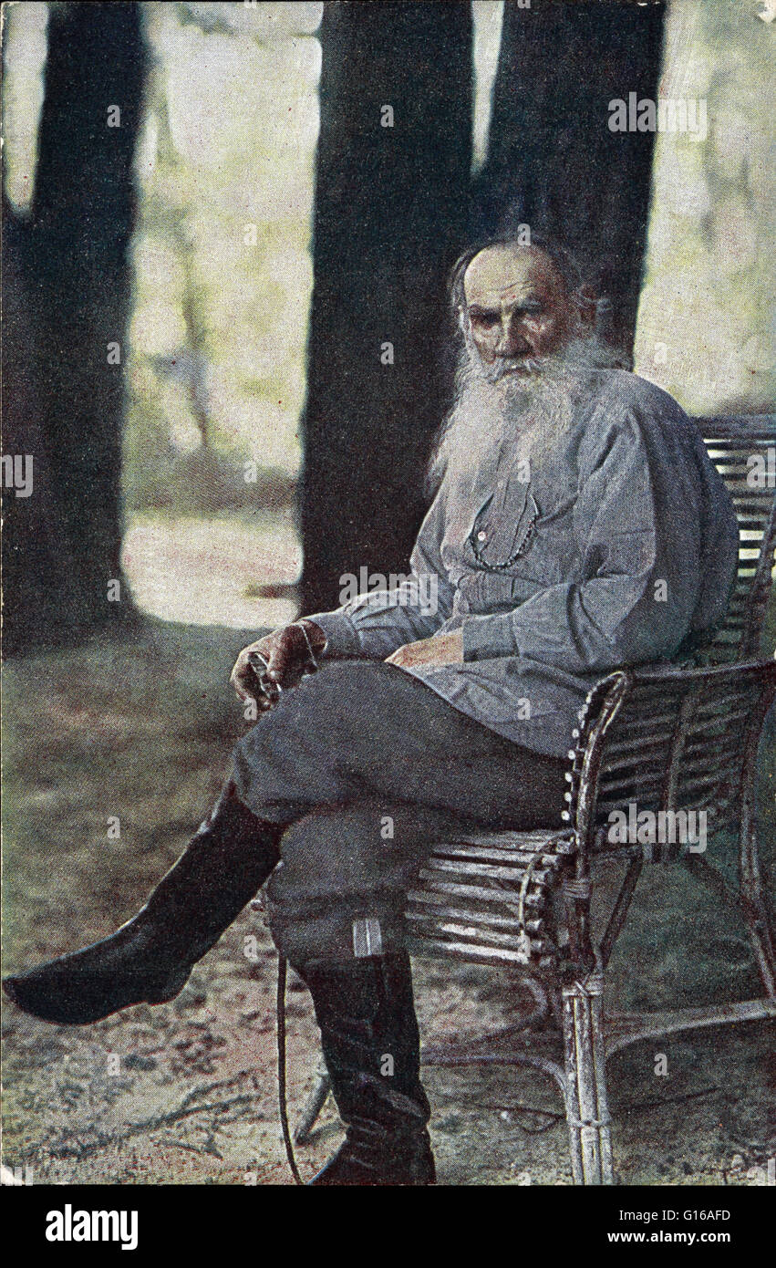 Tolstoy photographed at his Yasnaya Polyana estate in May 1908 by Sergey Prokudin-Gorsky. The only known color photograph - Stock Image