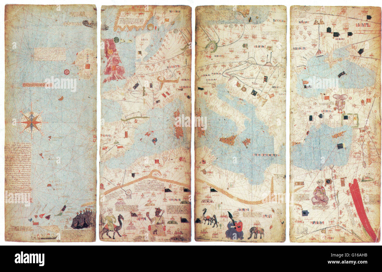 The Catalan Atlas is the most important Catalan map of the medieval period (drawn and written in 1375). It was produced Stock Photo
