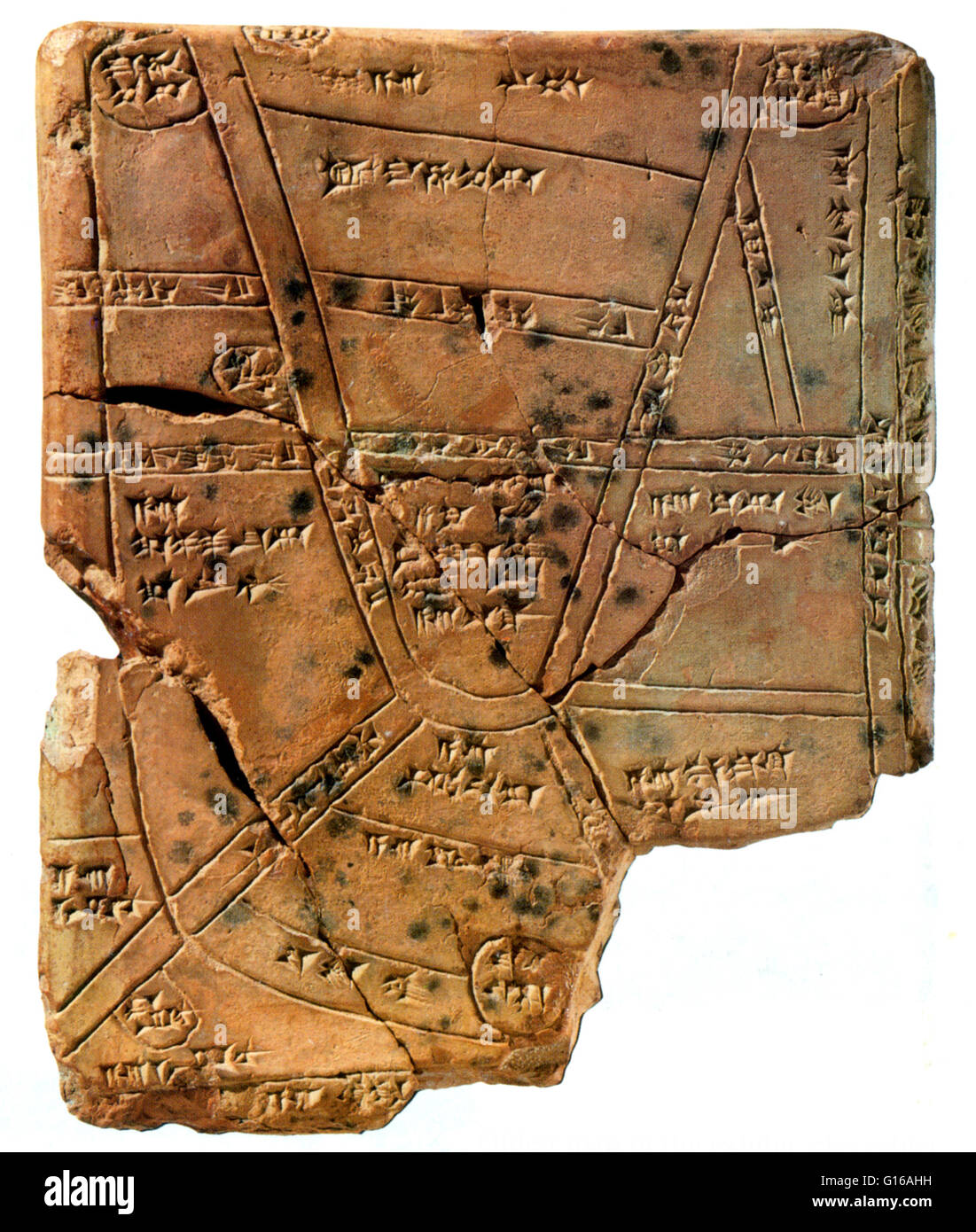 Clay cuneiform tablet, from 1500 BC, features the first known depiction of a map, showing fields belonging to royal - Stock Image
