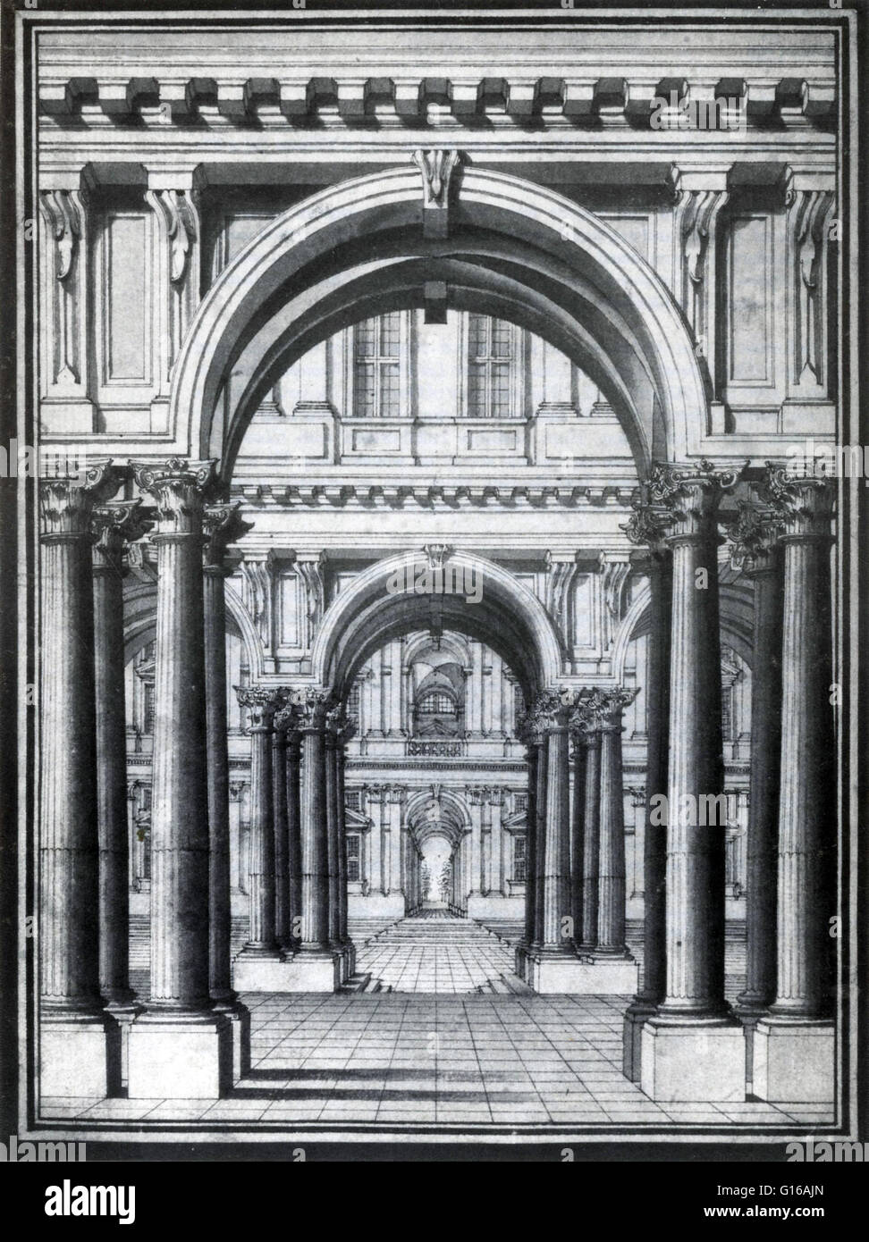 Chalk Drawing For Stage Design Torinese School 1700s Perspective In Context Of Vision And Visual Perception Is The Way Which Objects Appear To