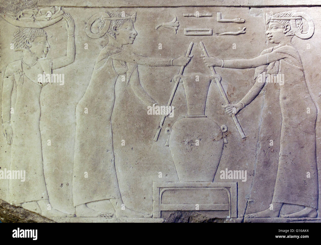 The making of lily perfume, fragment from the decoration of an Egyptian tomb. The Ancient Egyptians loved beautiful - Stock Image