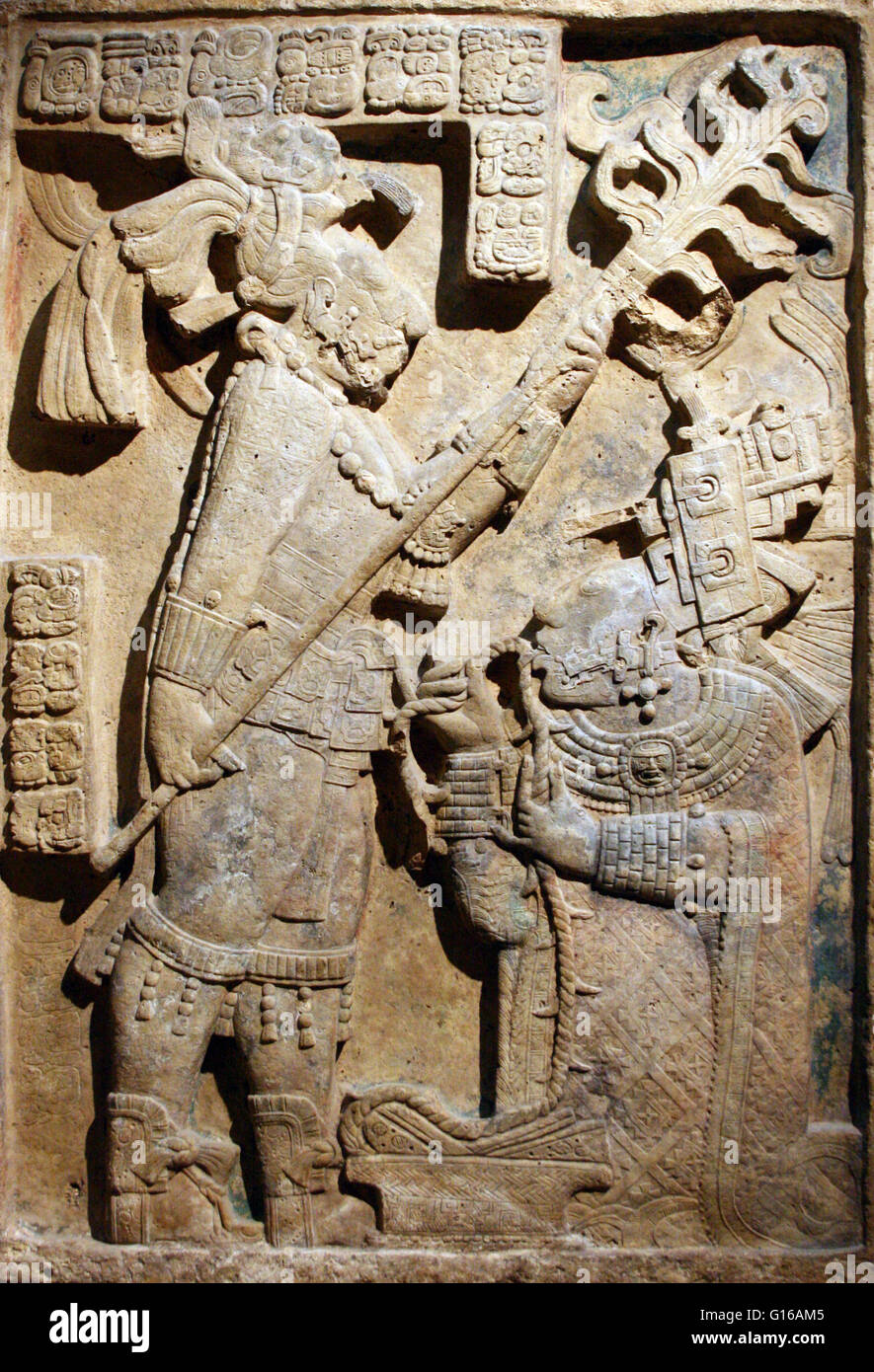 Maya Limestone Yaxchilán Lintel 24. Records a bloodletting ritual that took place on October 28, 709 AD. Shield - Stock Image