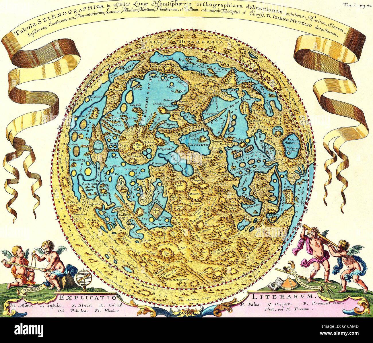 Map of the moon originally appeared in 'Selenographia sive lunae descriptio' by Johannes Hevelius, 1647. - Stock Image