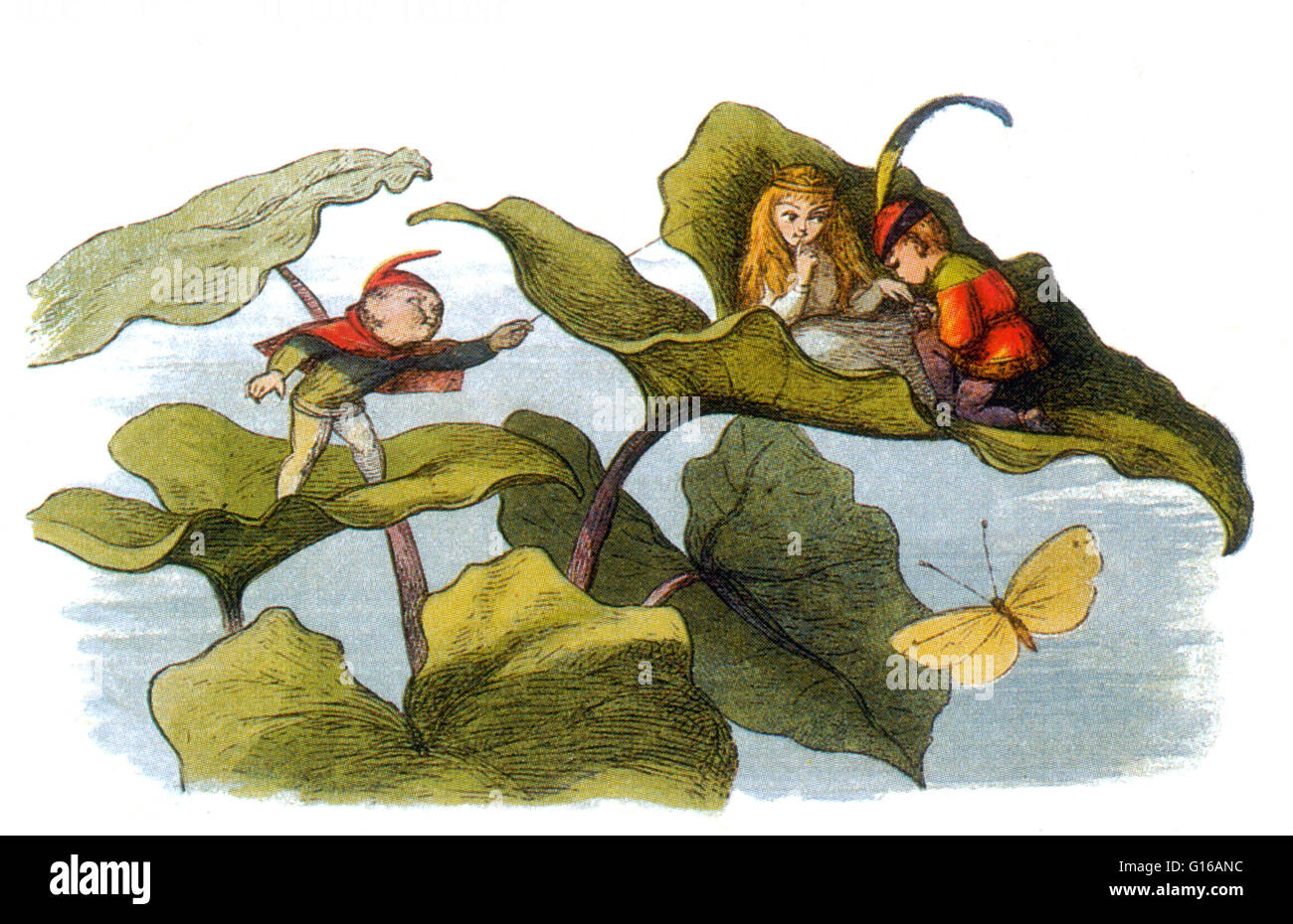 Fairy Courtship Cut Short. A fairy is a type of mythical being or legendary creature in European folklore, a form - Stock Image