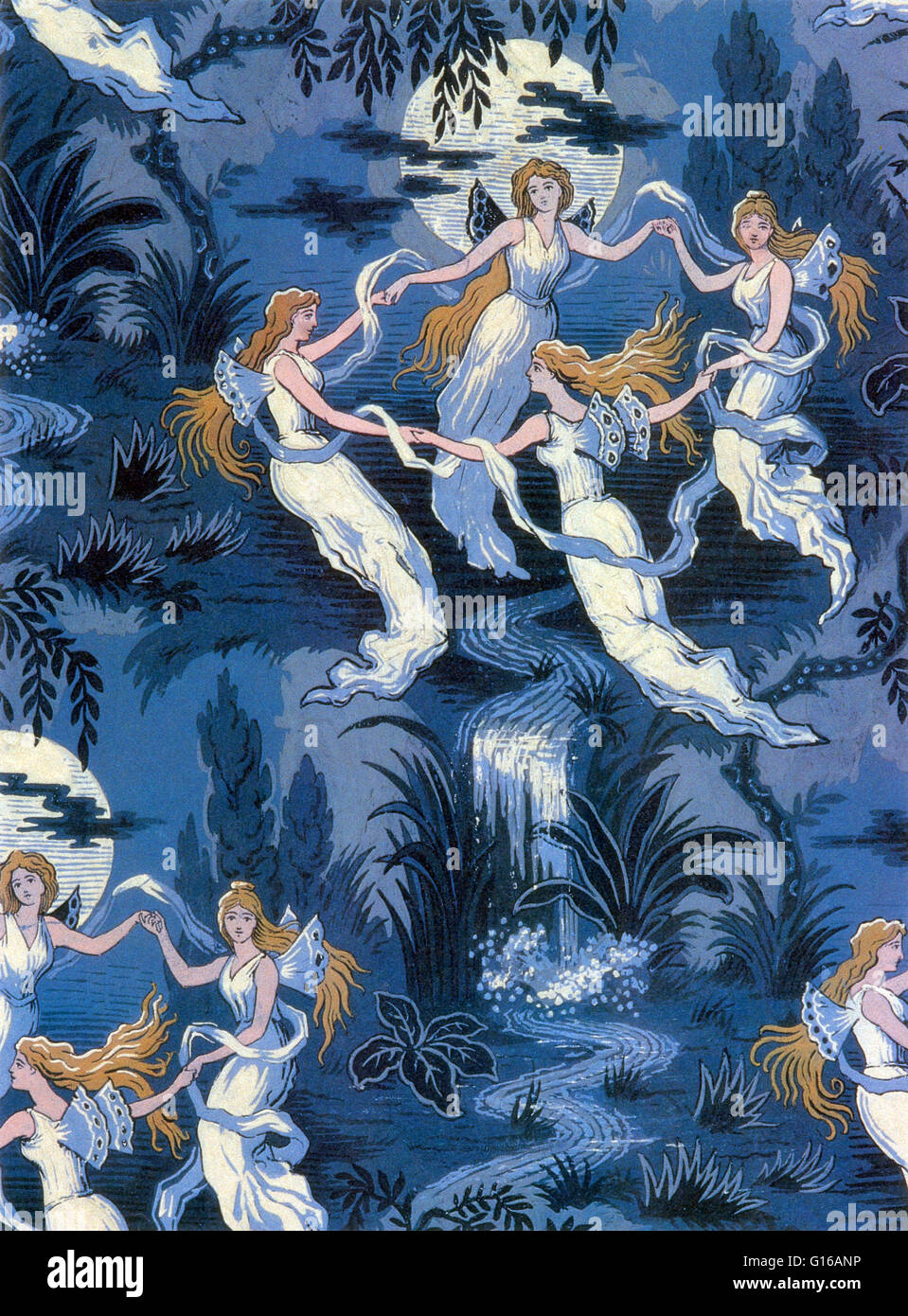Fairies in the Moonlight, French Textile. A fairy is a type of mythical being or legendary creature in European - Stock Image