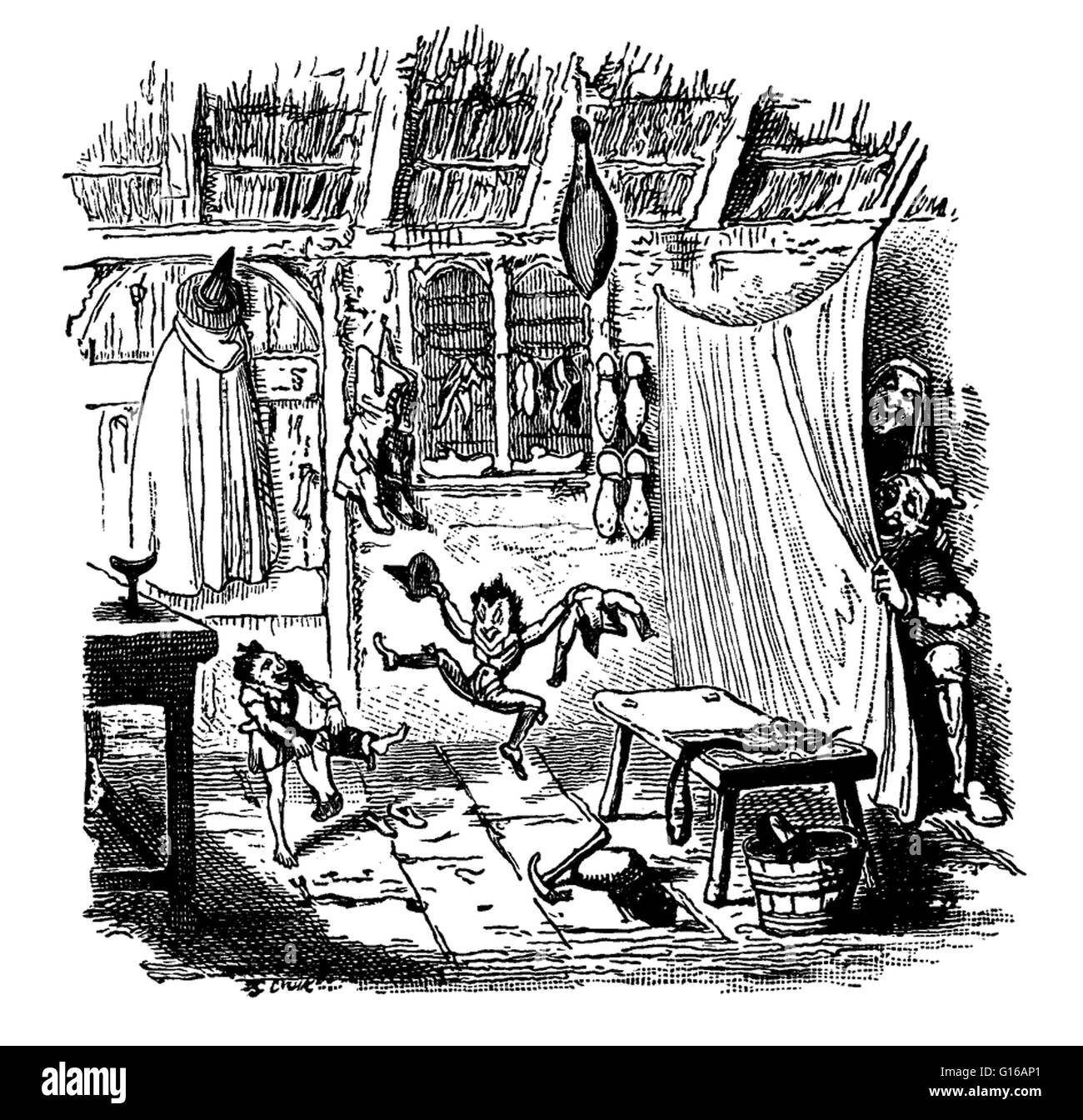 'The Elves and the Shoemaker' is an often copied and re-made 1806 story about a poor shoemaker who receives - Stock Image