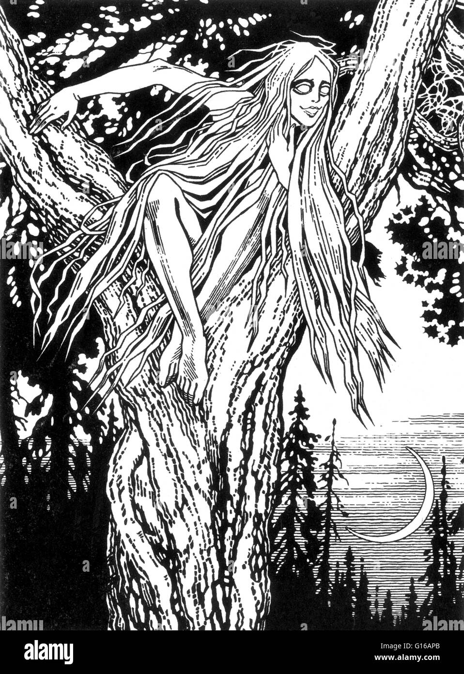 In Slavic mythology, a rusalka is a female ghost, water nymph, succubus, or mermaid-like demon that dwelt in a waterway. - Stock Image