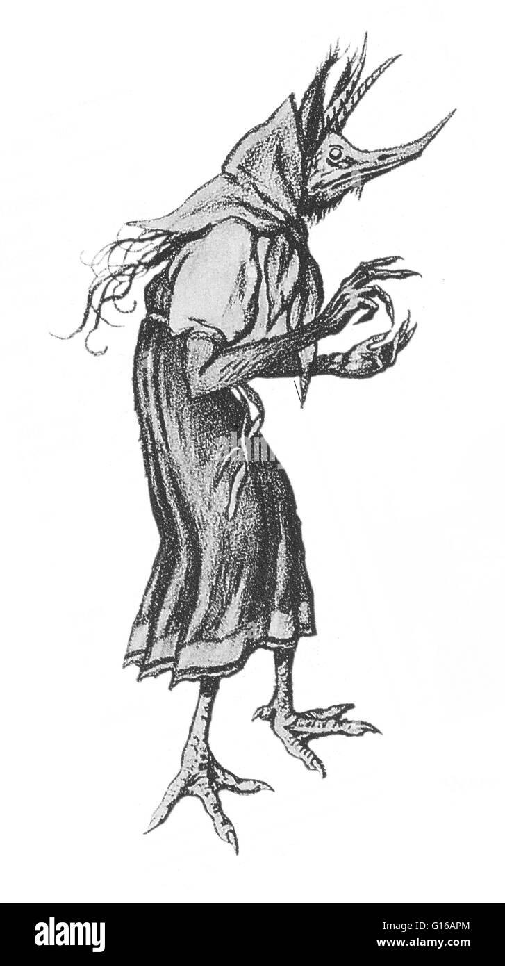 Kikimora is a legendary creature, a female house spirit in Slavic mythology. When she inhabits a house, she lives - Stock Image