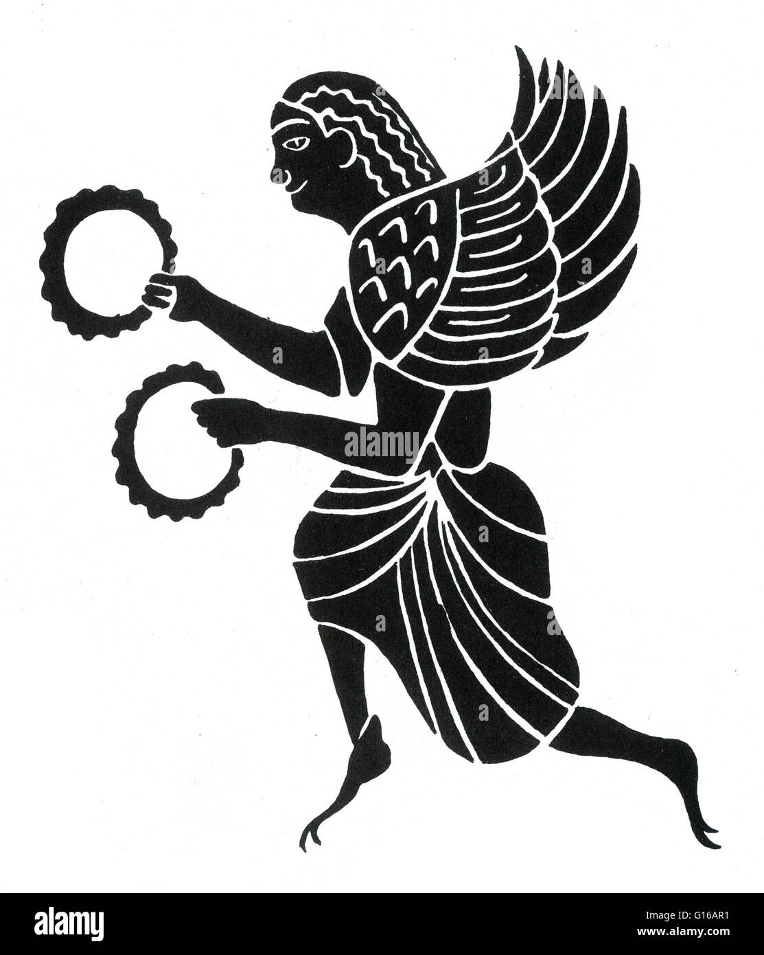 Ancient Greece, Harpy, from an amphora, 6th century BC. In earlier versions of Greek myth, Harpies were described - Stock Image