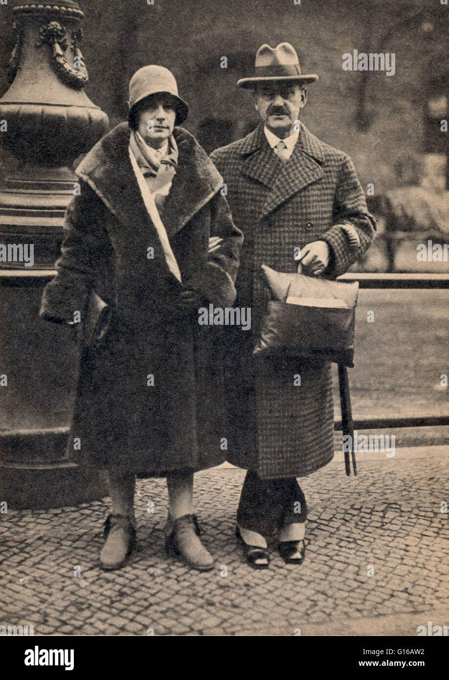 Photograph of Katia and Thomas Mann, Berlin, dated 1929. Thomas Mann (June 6, 1875 - August 12, 1955) was a German - Stock Image
