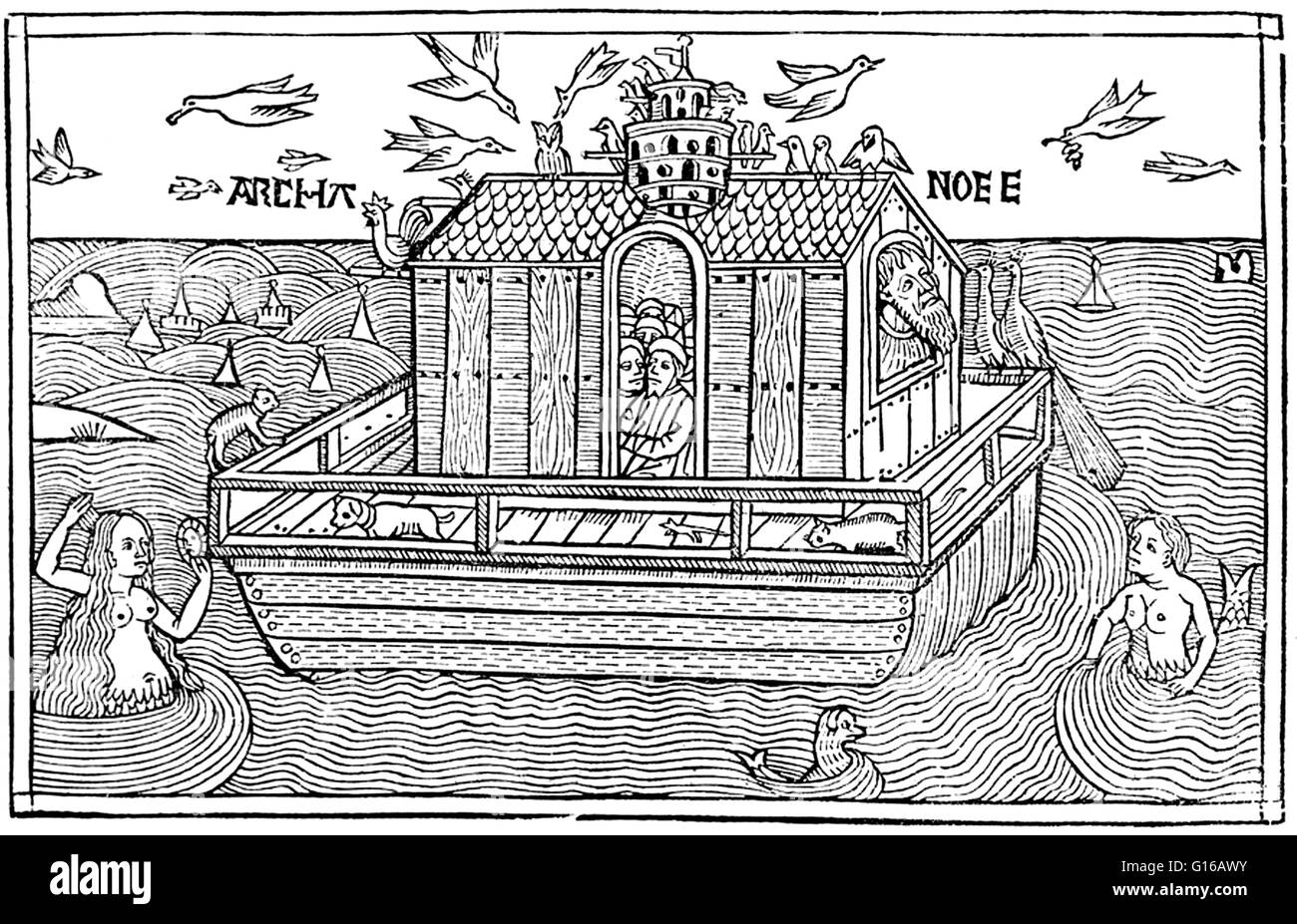 Woodcut of Noah's Ark with merfolk from the Nuremberg Chronicle, 1493. Noah was the tenth and last of the antediluvian - Stock Image