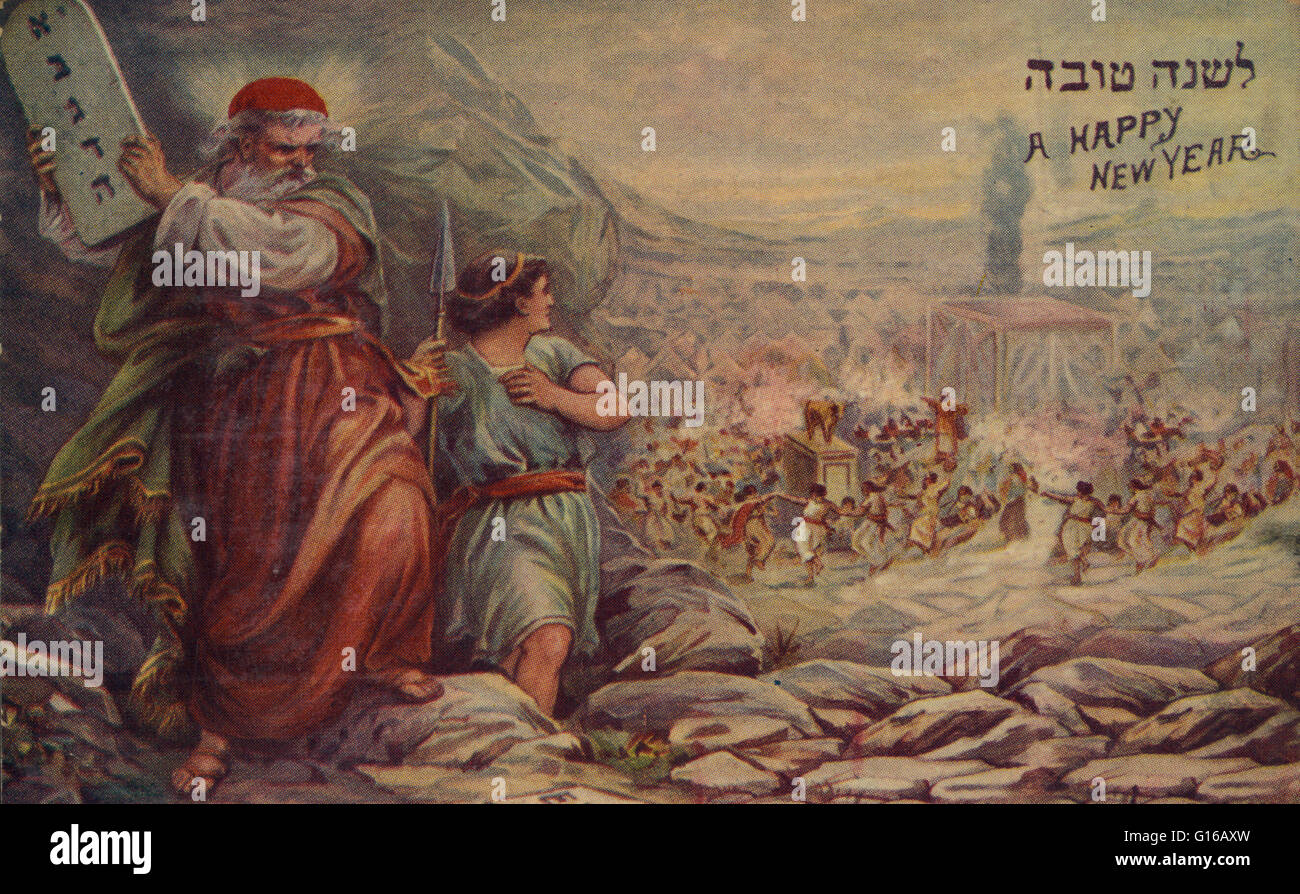 Print shows Moses preparing to smash the Ten Commandment tablets as, in the background, Israelites dance around - Stock Image