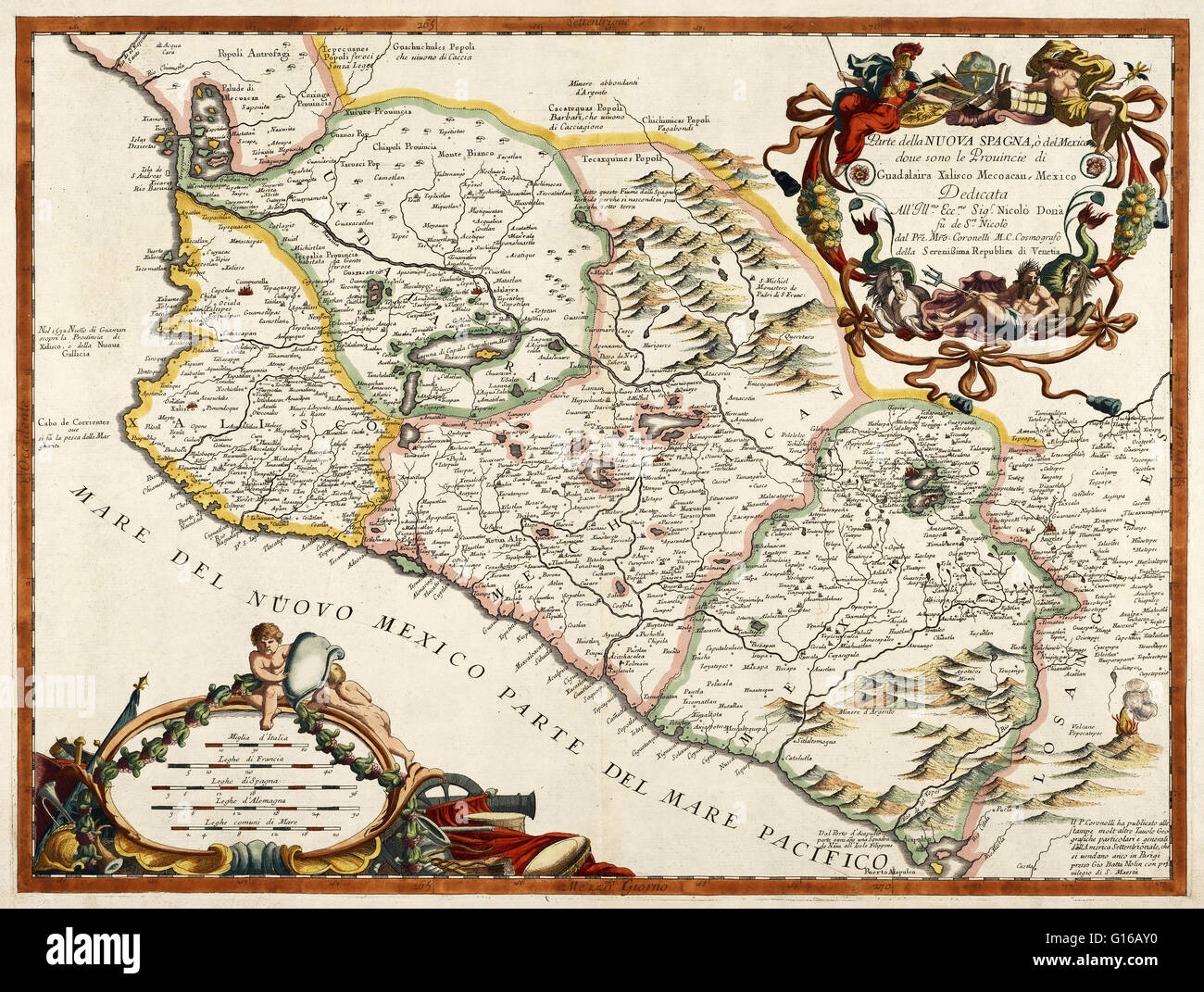 A 16th century map of New Spain or Mexico by Diego Gutirrez who
