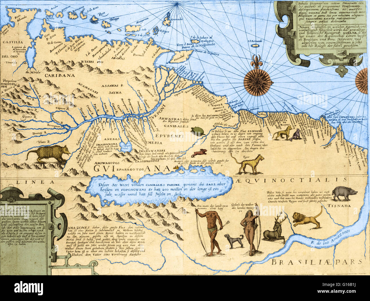 Map of Guyana and Brazil showing the Amazon river, wild animals, a ...