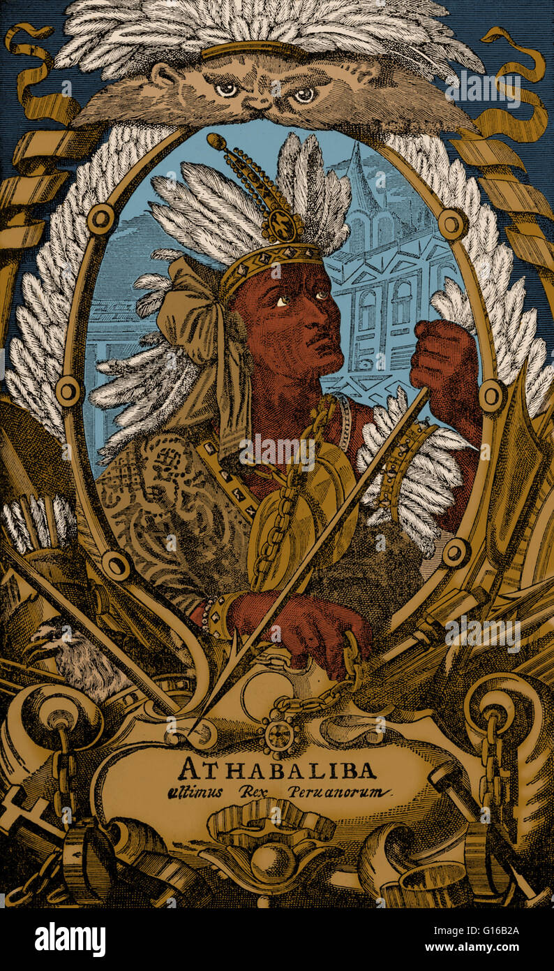 Engraving depicting Atahualpa (1497-1533), the last sovereign emperor of the the Inca Empire prior to the Spanish - Stock Image