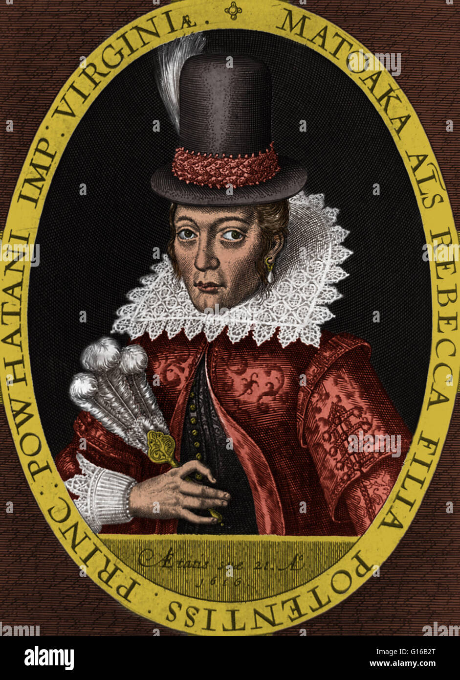 Portrait of Pocahontas (1595-1617), an Algonquian Indian remembered for her  association with the colonial settlement at Jamestown, Virginia; ...
