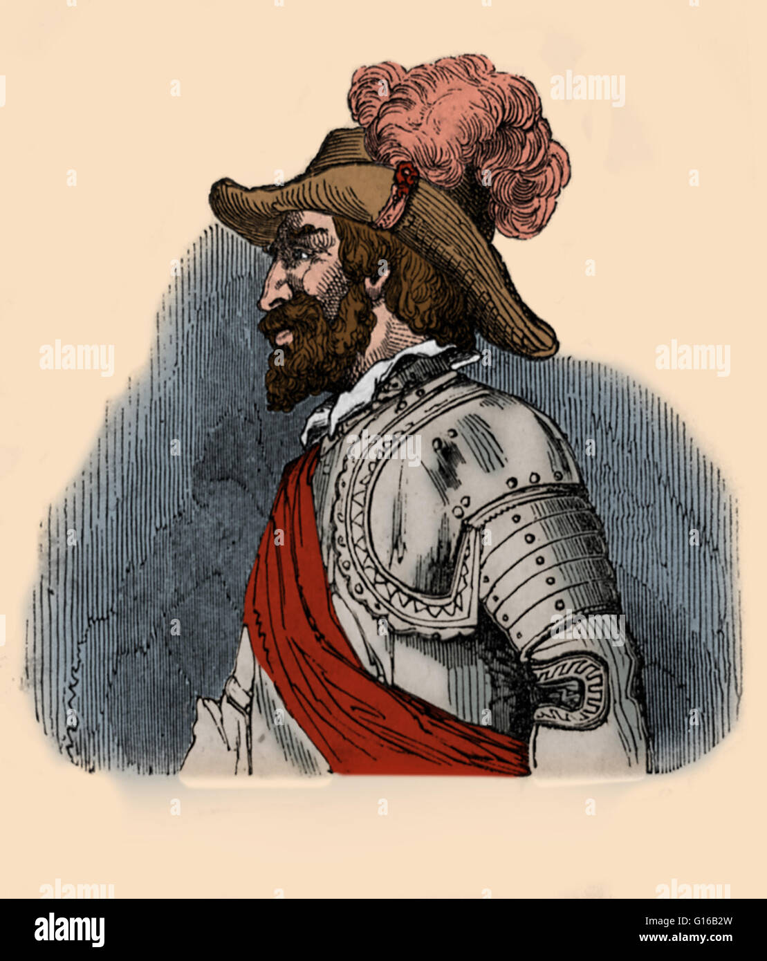 Juan Ponce de León (1474 - July 1521) was a Spanish explorer and conquistador. He became the first Governor - Stock Image