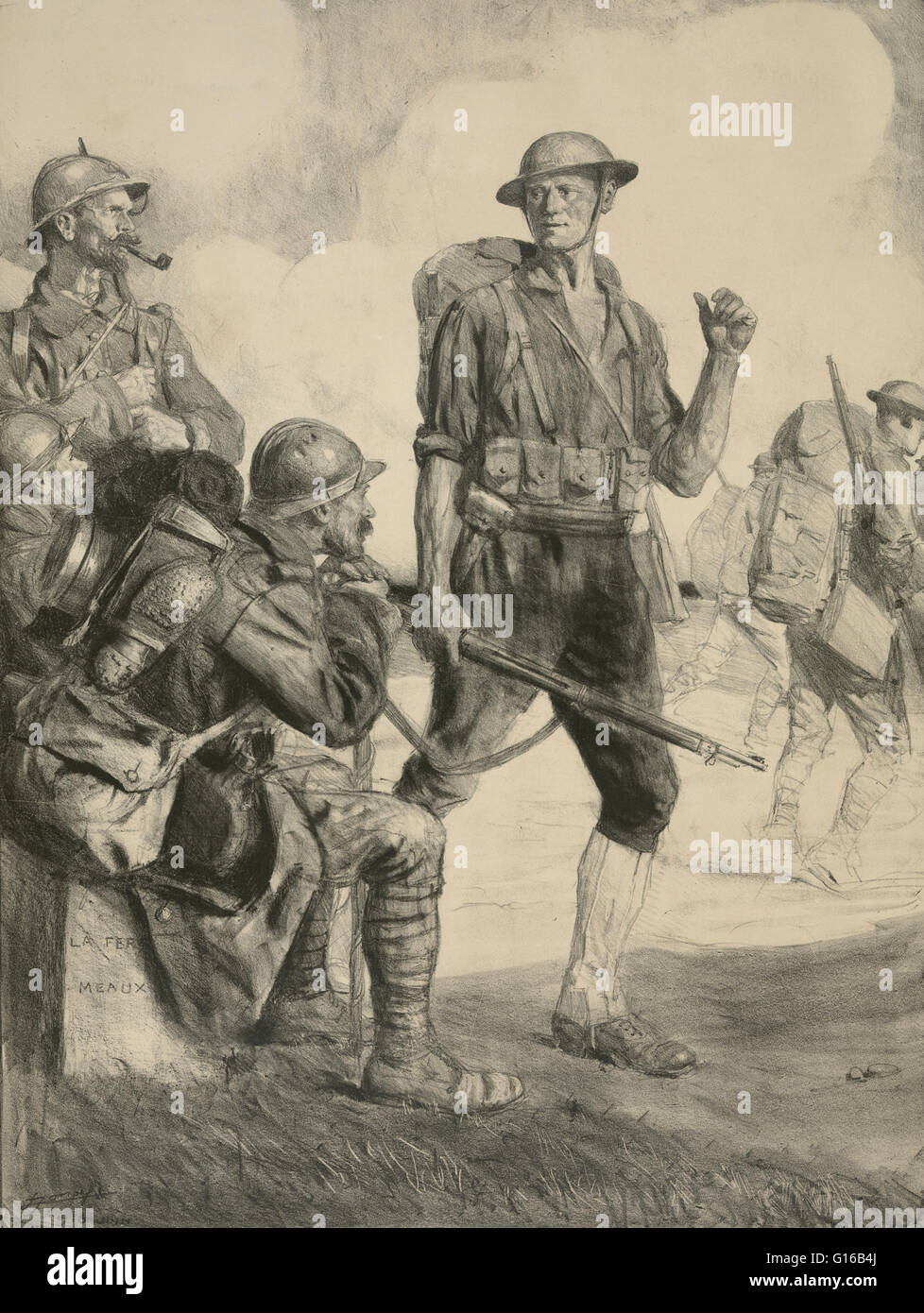 Sketch Of An American Soldier Talking With Allied Soldiers In France