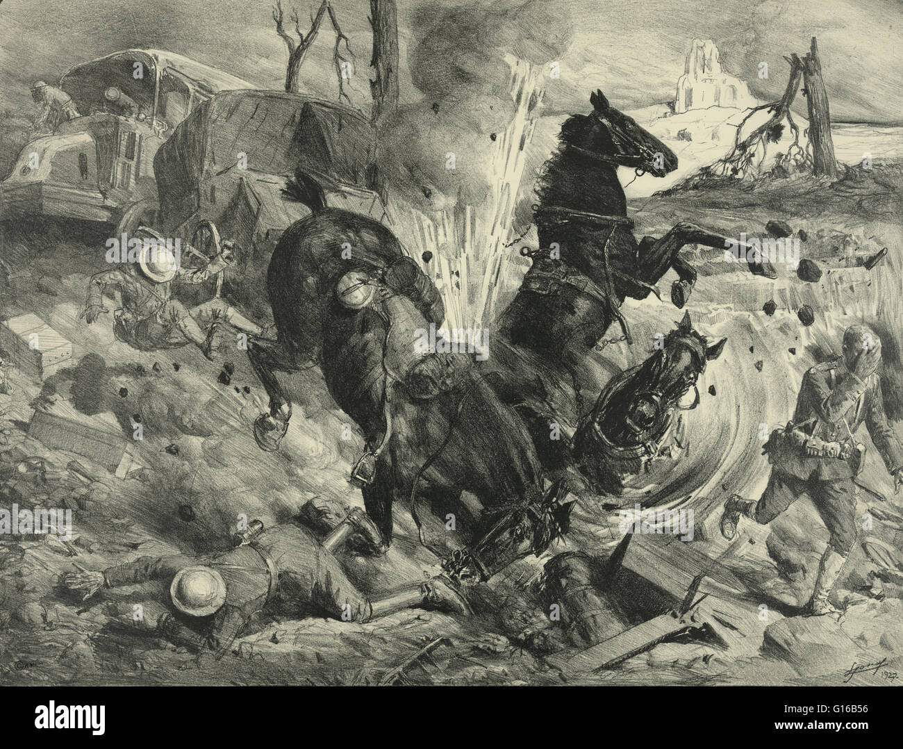 Entitled: Night bombing by aeroplanes on a road near Soissons. Sketch shows bomb striking horses and soldiers during - Stock Image
