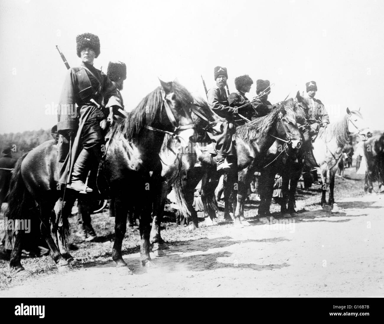 Russian cossacks during World War I. At the outbreak of World War I the mounted Cossacks made up 38 regiments, plus - Stock Image