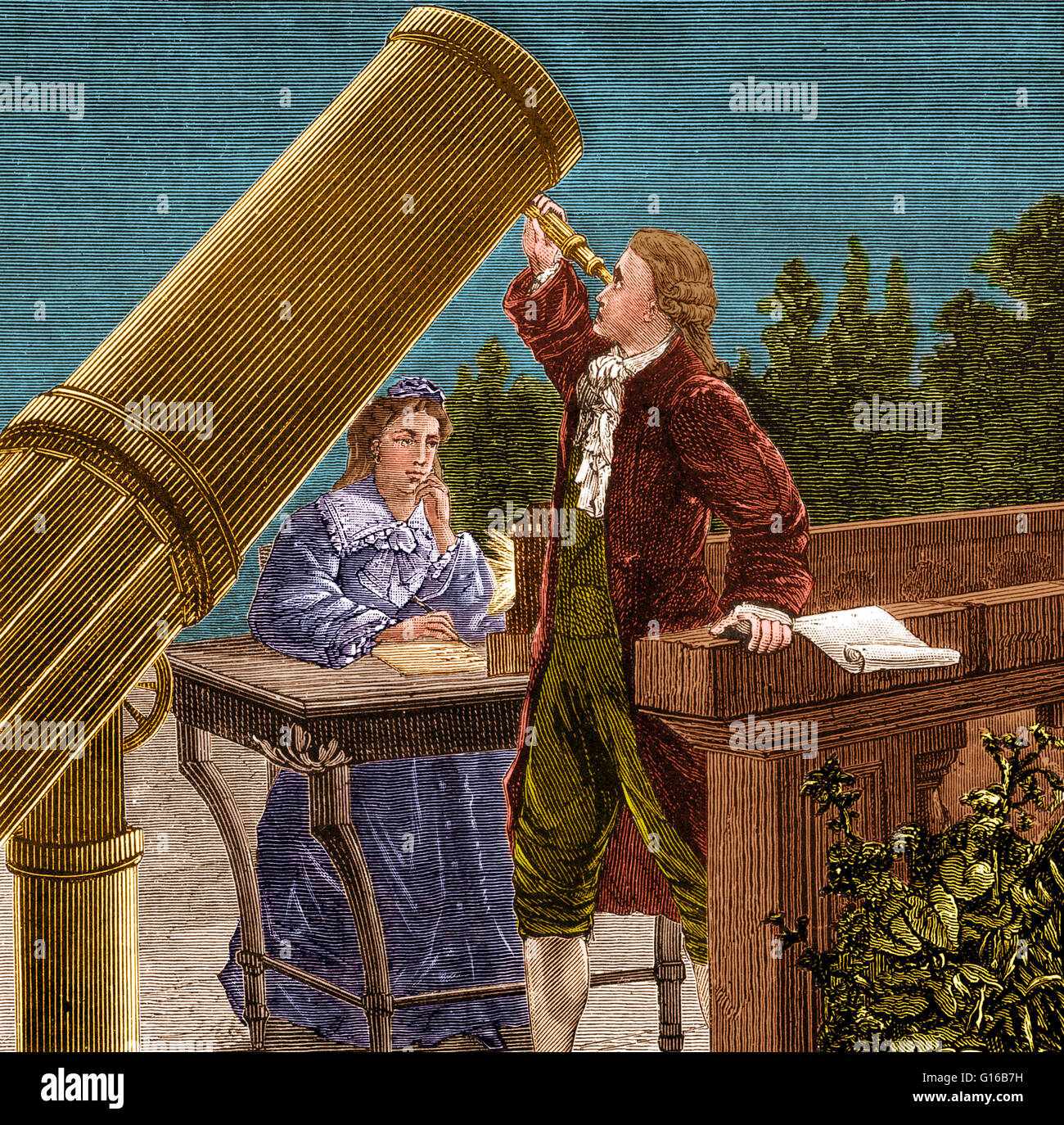 Frederick William Herschel (1738-1822) was a German-Anglo astronomer. Herschel was the first astronomer to study - Stock Image