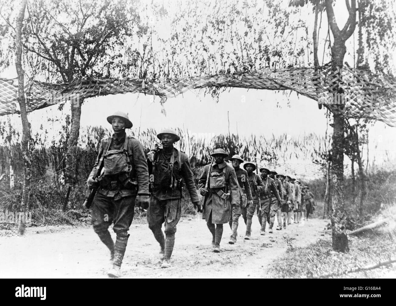 U.S. Army Infantry troops, African-American unit, marching northwest of Verdun, France. Unknown photographer dated - Stock Image