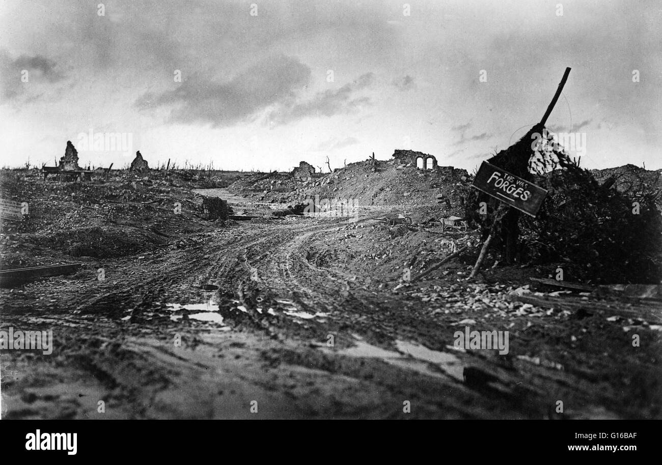 Panoramic view of almost totally destroyed town; crude sign reads, 'this was Forges' (possibly Forges-les - Stock Image