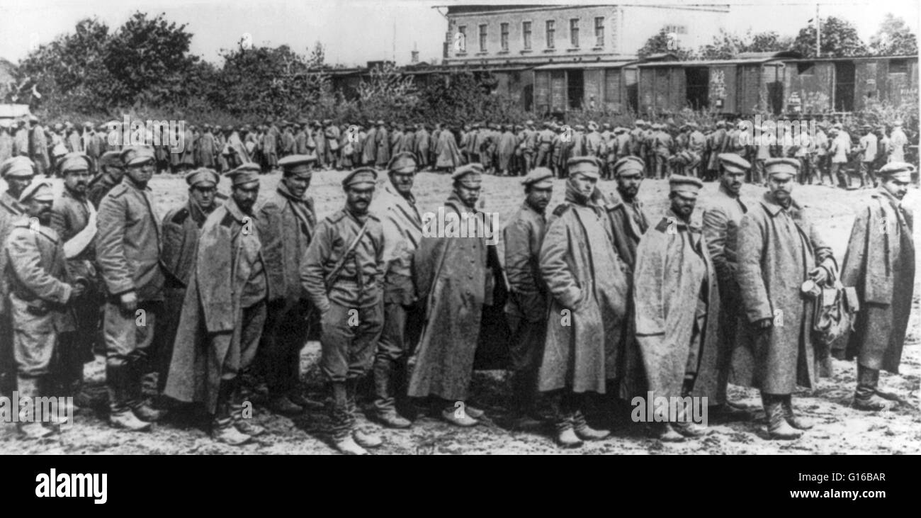Large group of Russian soldiers captured in Galicia. The Battle of Galicia was a major battle between Russia and Stock Photo
