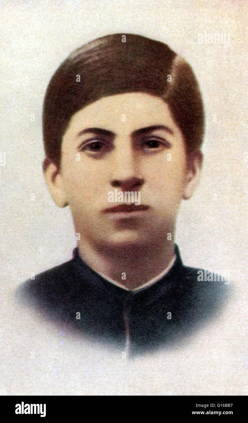 Stalin (age 15) in 1893 when pupil of the Gori clerical school. Joseph Vissarionovich Stalin (December 18, 1878 - Stock Image