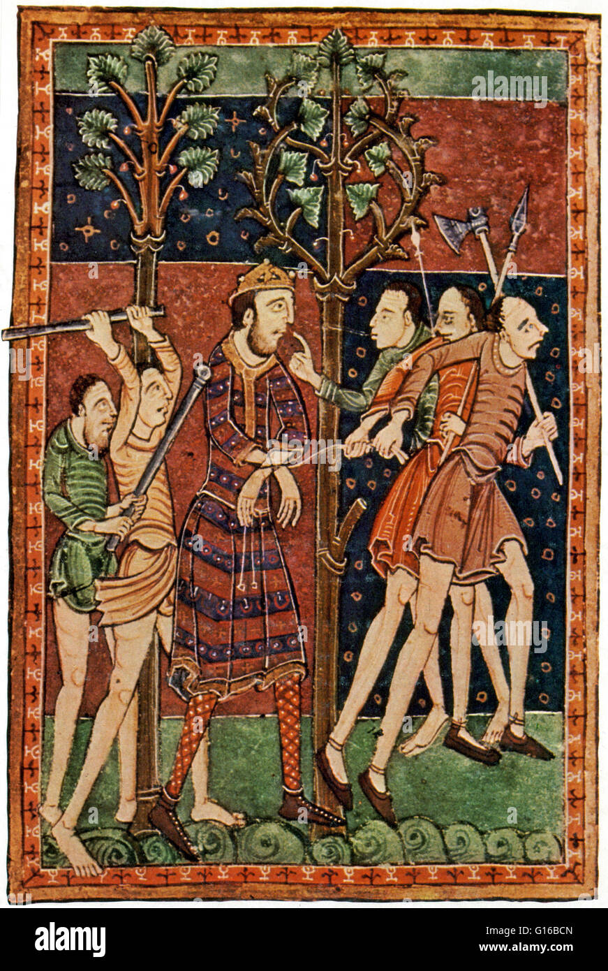 Captioned: 'Vikings dethroning King Edmund of East Anglia, England.' Illuminated manuscript, 'Life of - Stock Image