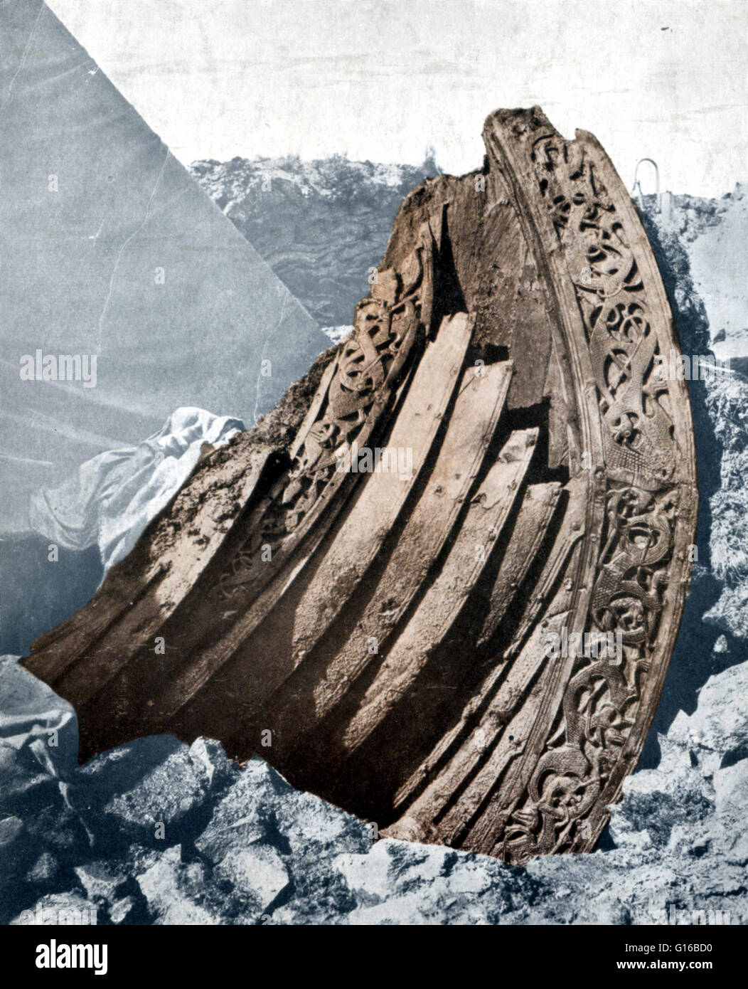 The Oseberg ship is a well-preserved Viking ship discovered in a large burial mound at the Oseberg farm in Norway. - Stock Image