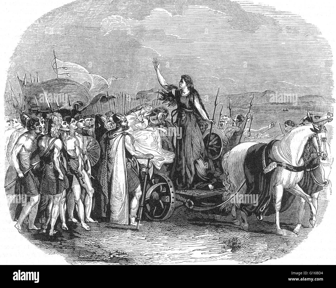 Captioned: 'Boadicea Haranguing The British Tribes.' Boudica (died 60 or 61 AD) was queen of the British - Stock Image