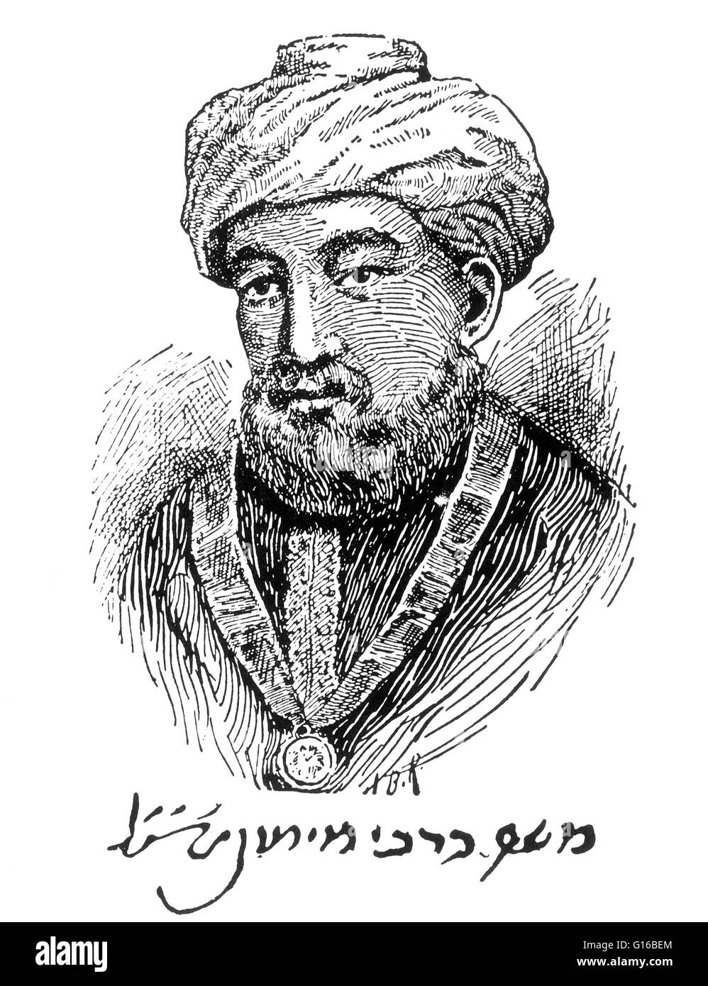 Caption: 'Engraved portrait of Maimonides, as he was thought to look, with his autograph in facsimile.' - Stock Image
