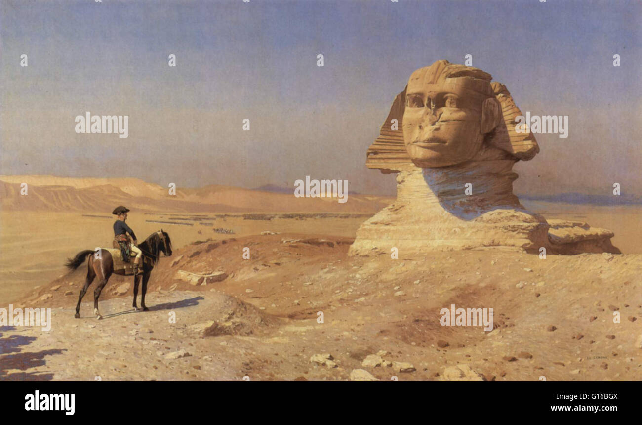Caption: 'Napoleon Bonaparte before the sphinx during the French Campaign in Egypt painted by Jean-Léon - Stock Image