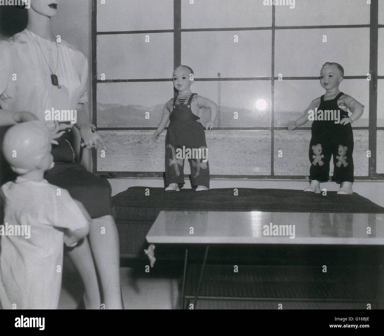 Testing effects of nuclear blast 1955. Operation Teapot was a series of fourteen nuclear test explosions conducted - Stock Image