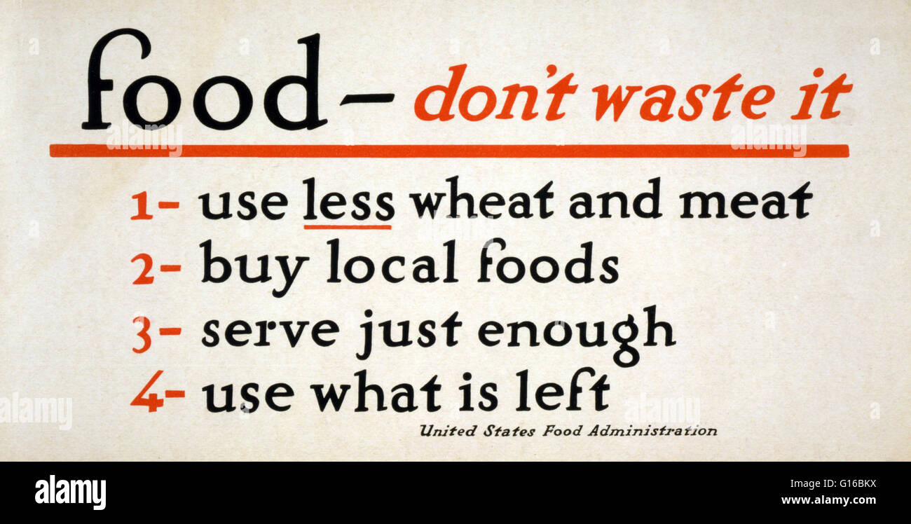 Entitled: 'Food - don't waste it'. Poster listing ways to not waste food. 1 Use less wheat and meat, - Stock Image