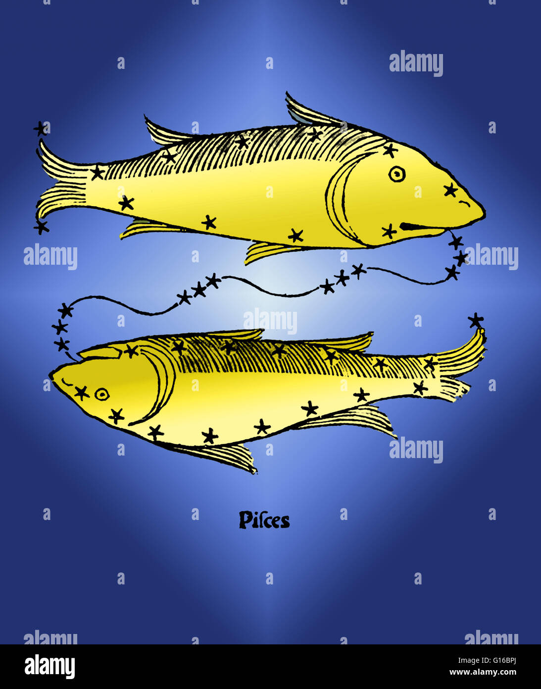 Color enhancement of Pisces, a constellation of the zodiac. Pisces translates to Latin plural for fish. It is one - Stock Image
