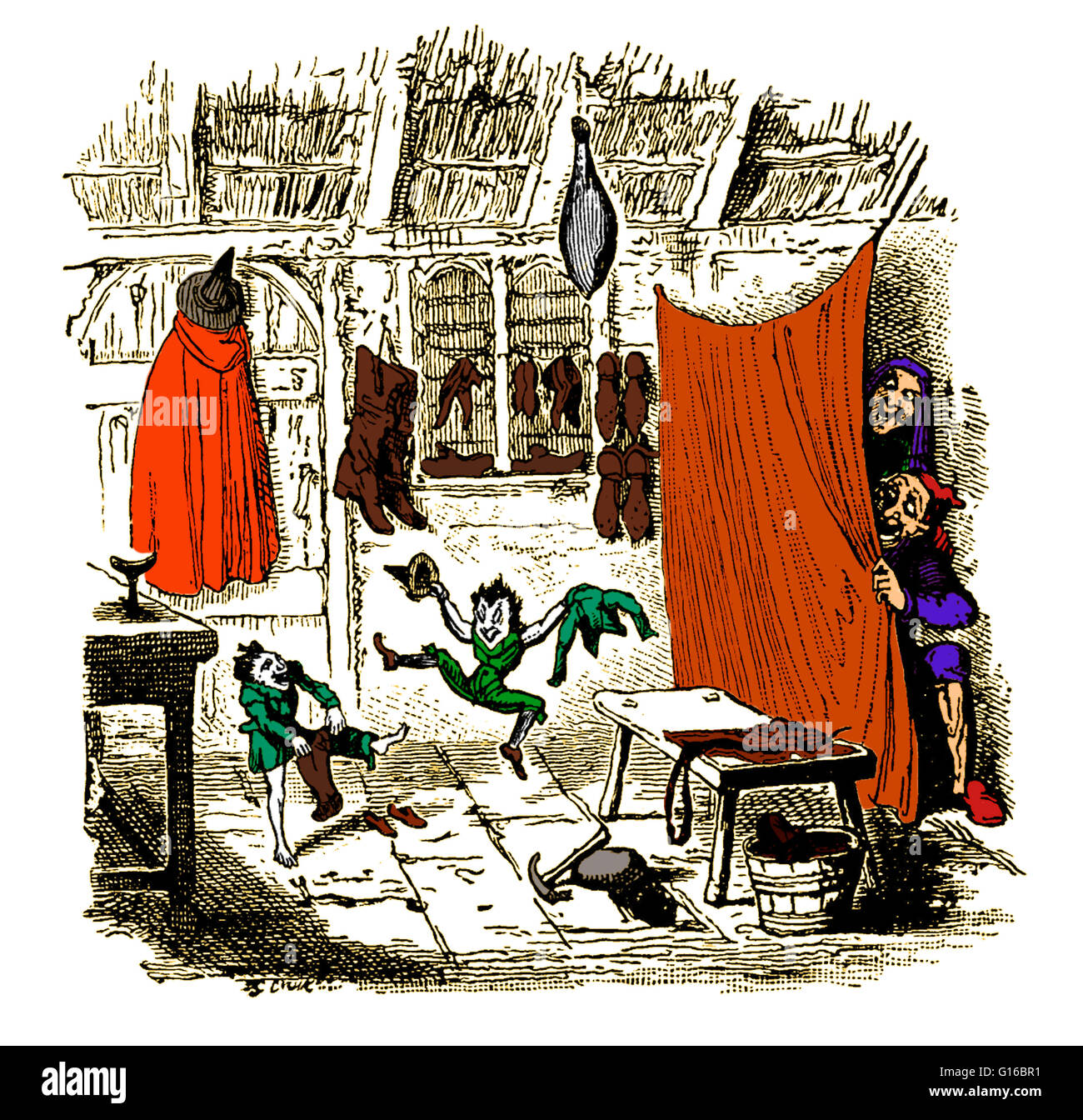 Color enhancement of an image depicting the old tale, 'The Elves and the Shoemaker'. This is an often copied - Stock Image