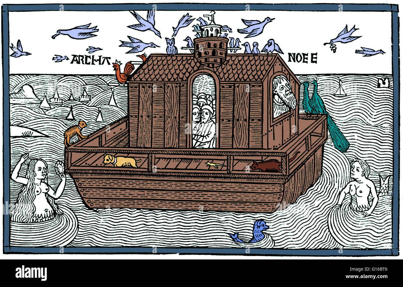 Color Enhancement Of A Woodcut Of Noahs Ark With Merfolk From The