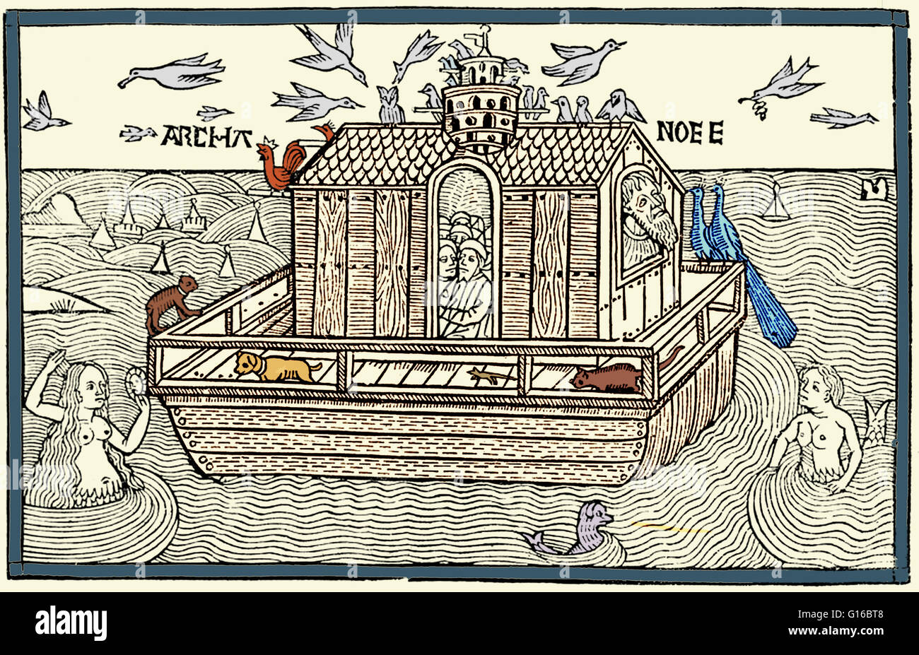 Color enhancement of a woodcut of Noah's Ark with merfolk from the Nuremberg Chronicle, 1493. Noah was the tenth - Stock Image