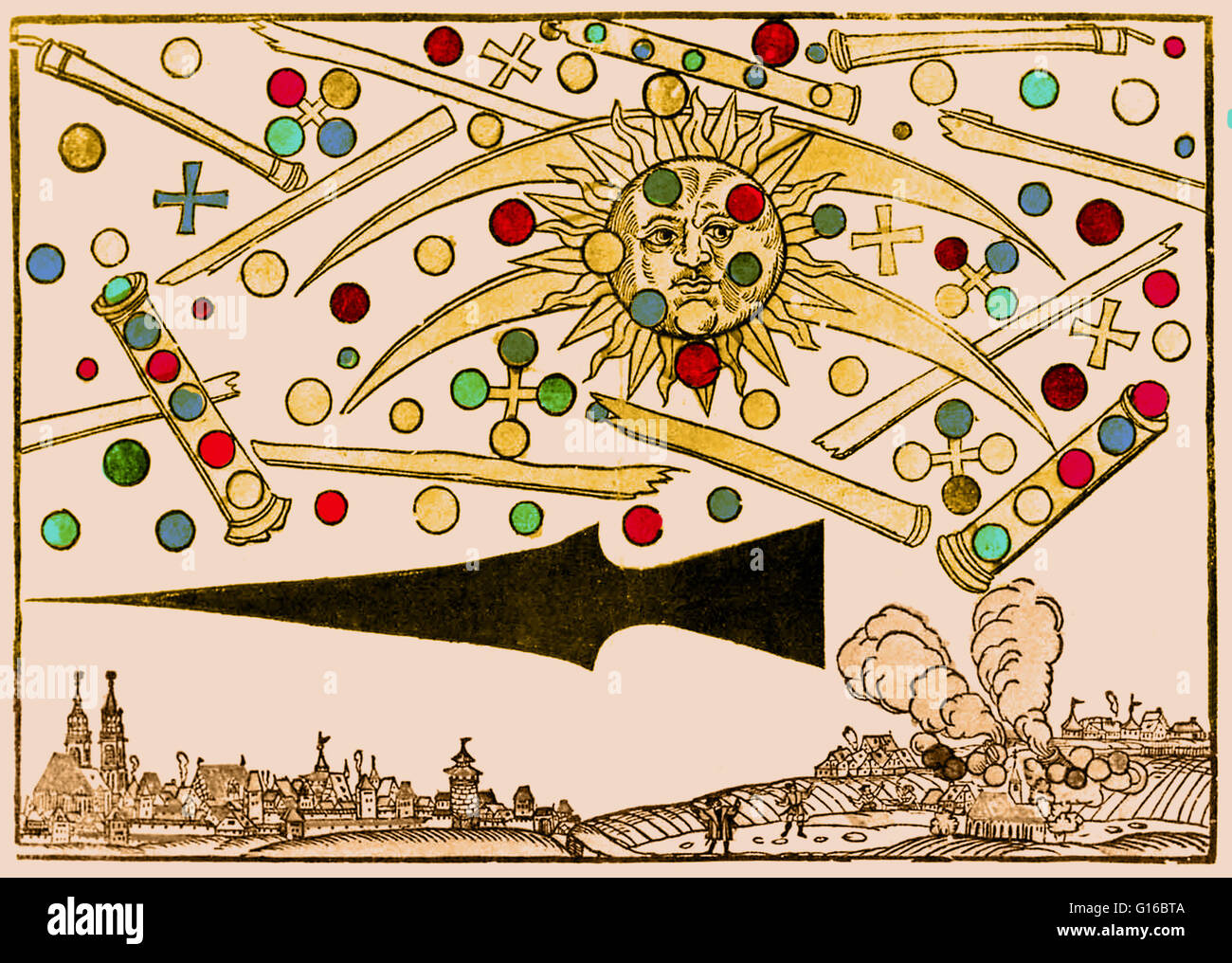 Color enhancment of a 16th century woodcut called Nuremberg UFO by Hans Glaser. At sunrise on the April 14, 1561, Stock Photo