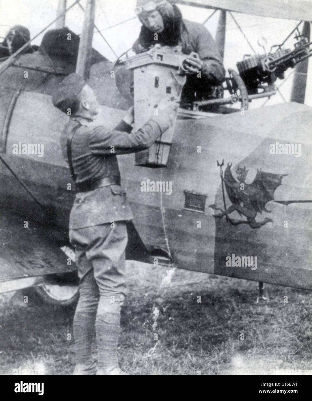 The use of aerial photography rapidly matured during WWI, as aircraft used for reconnaissance purposes were outfitted - Stock Image