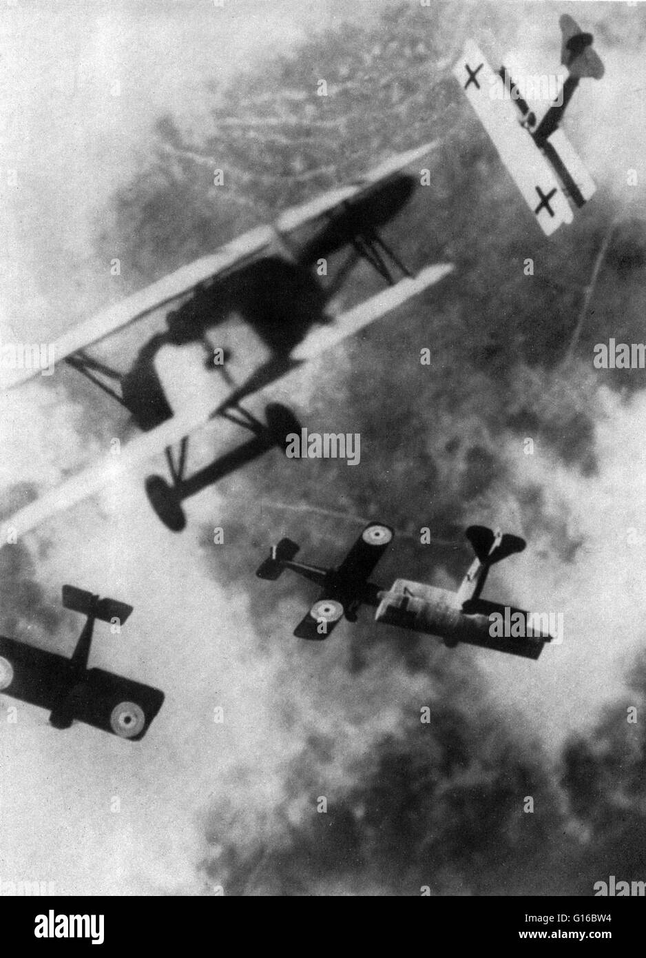 Dogfighting first emerged in World War I. Ever since 'heavier than air' flight became a reality in 1903, - Stock Image