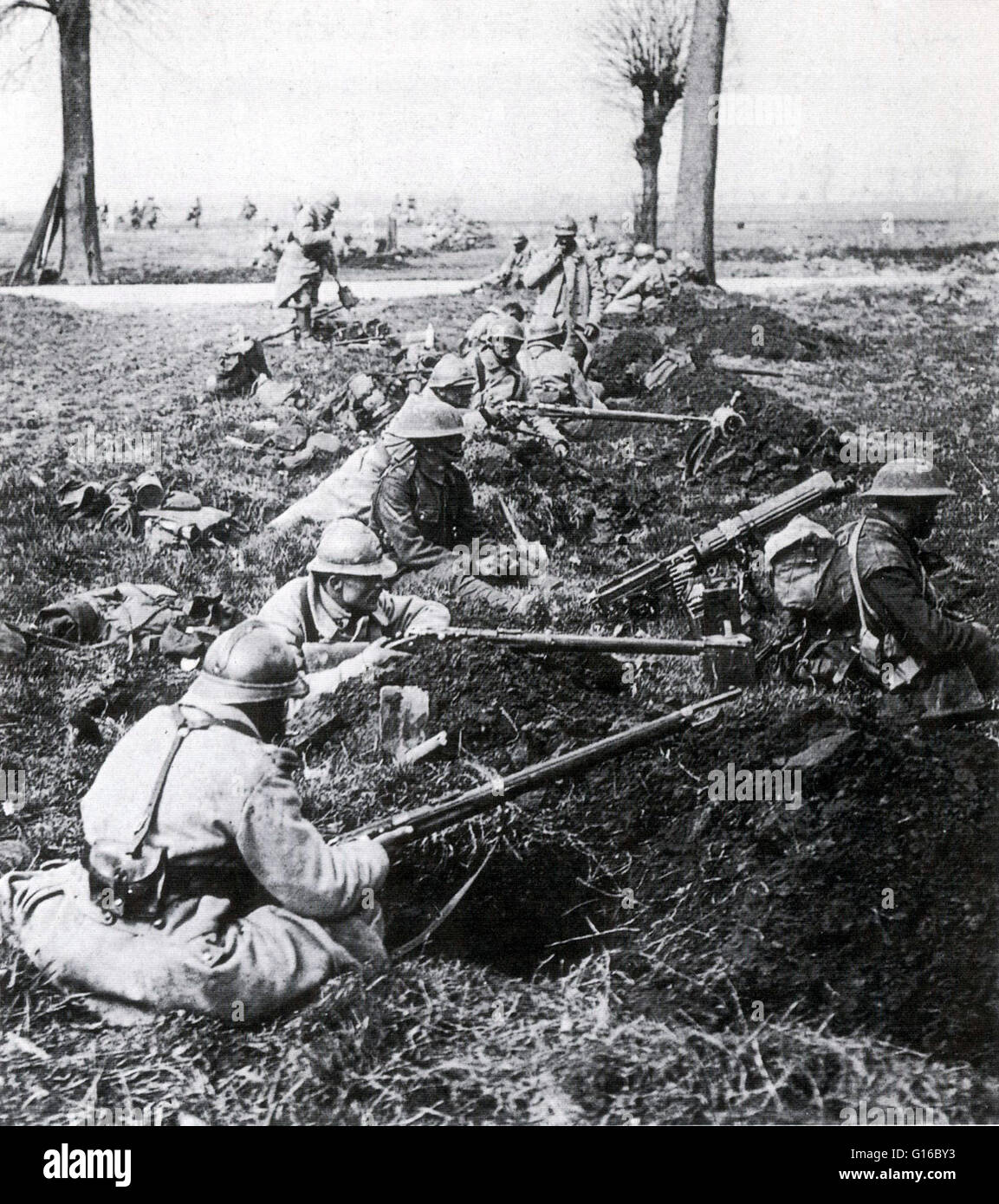 French and British soldiers.The Second Battle of the Marne (July 15 - August 6, 1918) was the last major German - Stock Image