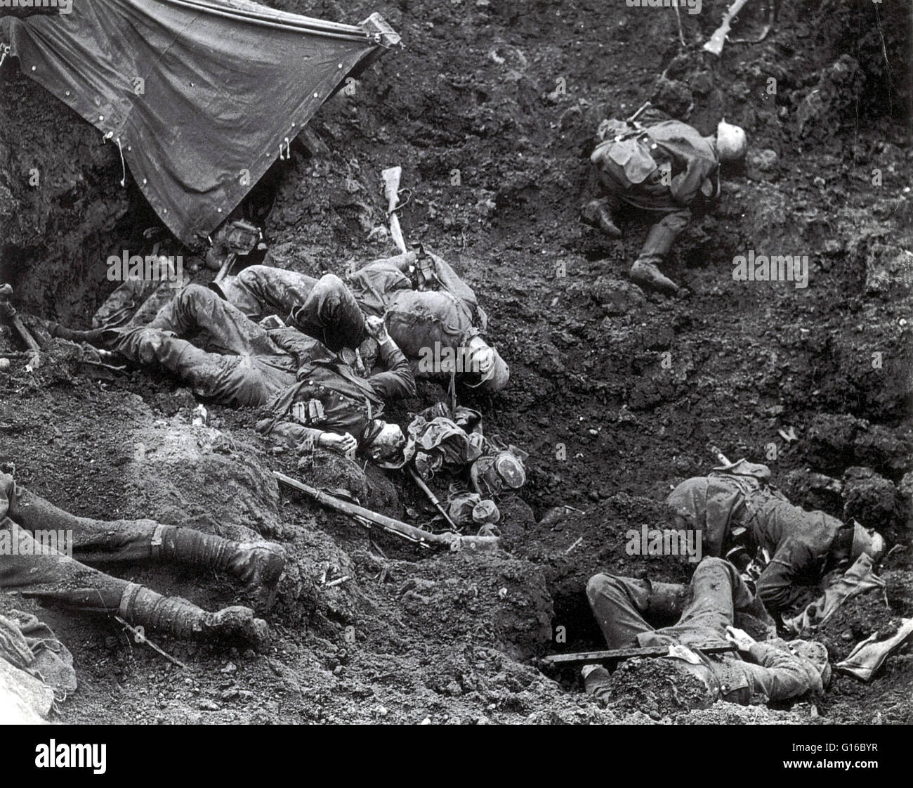 The Battle of Passchendaele was a campaign of WWI, fought by the British and their allies against the German Empire. Stock Photo
